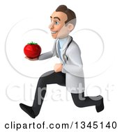 Clipart Of A 3d Young White Male Doctor Holding A Tomato And Sprinting To The Left Royalty Free Illustration