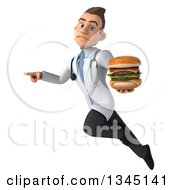 Clipart Of A 3d Young White Male Doctor Holding A Double Cheeseburger Pouting Flying And Pointing Royalty Free Illustration