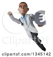 Clipart Of A 3d Young Black Male Doctor Holding A Euro Currency Symbol And Flying Royalty Free Illustration