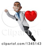 Clipart Of A 3d Young Black Male Doctor Holding A Red Love Heart And Flying Royalty Free Illustration