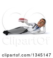 Clipart Of A 3d Young Black Male Doctor Holding A Beef Steak And Resting On His Side Royalty Free Illustration