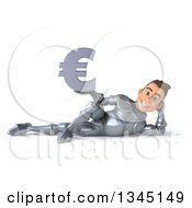 Clipart Of A 3d Caucasian Male Armored Knight Holding A Euro Currency Symbol And Resting On His Side Royalty Free Illustration