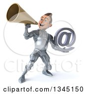 Clipart Of A 3d Caucasian Male Armored Knight Holding An Email Arobase At Symbol And Announcing Up To The Left With A Megaphone Royalty Free Illustration