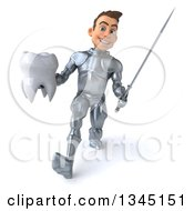 Clipart Of A 3d Caucasian Male Armored Knight Holding A Tooth And Speed Walking With A Sword Royalty Free Illustration
