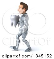 Clipart Of A 3d Caucasian Male Armored Knight Holding A Tooth And Walking To The Left Royalty Free Illustration