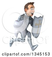 Clipart Of A 3d Caucasian Male Armored Knight Holding A Tooth And Shield Sprinting To The Right Royalty Free Illustration