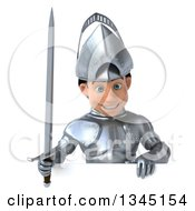 Clipart Of A 3d Caucasian Male Armored Knight Holding A Sword And Looking Down Over A Sign Royalty Free Illustration