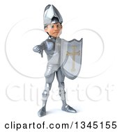 Clipart Of A 3d Caucasian Male Armored Knight Holding A Shield And Giving A Thumb Down Royalty Free Illustration
