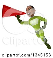 Clipart Of A 3d Young Black Male Super Hero In A Green Suit Flying And Announcing With A Megaphone Royalty Free Illustration by Julos
