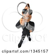 Clipart Of A 3d Macho White Businessman Wearing Sunglasses Looking Up And Searching With A Magnifying Glass 2 Royalty Free Illustration by Julos