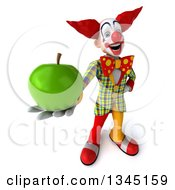 Clipart Of A 3d Funky Clown Holding Up A Green Apple Royalty Free Illustration
