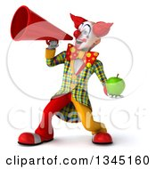 Clipart Of A 3d Funky Clown Holding A Green Apple And Announcing To The Left With A Megaphone Royalty Free Illustration