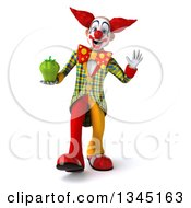 Clipart Of A 3d Funky Clown Holding A Green Bell Pepper Walking And Waving Royalty Free Illustration