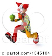 Clipart Of A 3d Funky Clown Holding A Green Bell Pepper And Sprinting To The Left Royalty Free Illustration