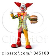 Clipart Of A 3d Funky Clown Holding Up A Finger And A Double Cheeseburger Royalty Free Illustration