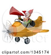 Clipart Of A 3d Funky Clown Aviator Pilot Announcing With A Megaphone And Flying A Yellow Airplane Slightly To The Left Royalty Free Illustration