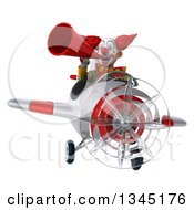 Clipart Of A 3d Funky Clown Aviator Pilot Announcing With A Megaphone And Flying A White And Red Airplane Royalty Free Illustration
