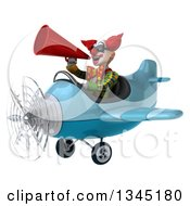 Clipart Of A 3d Funky Clown Aviator Pilot Wearing Sunglasses Announcing With A Megaphone And Flying A Blue Airplane Slightly To The Left Royalty Free Illustration