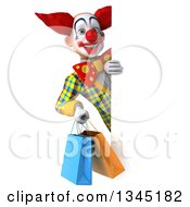 3d Funky Clown Holding Shopping Bags Around A Sign