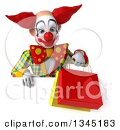 3d Funky Clown Holding Shopping Bags Over A Sign