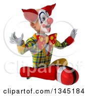 Clipart Of A 3d Funky Clown Facing Slightly Left Being Surprised While Meditating Royalty Free Illustration