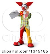 Clipart Of A 3d Funky Clown Thinking And Holding An Envelope Royalty Free Illustration