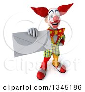 Clipart Of A 3d Funky Clown Holding Up An Envelope Royalty Free Illustration