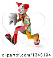 Clipart Of A 3d Funky Clown Holding A Tooth And Sprinting To The Left Royalty Free Illustration