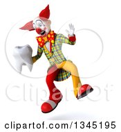 Clipart Of A 3d Funky Clown Holding A Tooth And Jumping Royalty Free Illustration