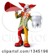 Clipart Of A 3d Funky Clown Holding A Tooth And Announcing With A Megaphone Royalty Free Illustration