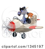 Clipart Of A 3d Purple Dragon Aviator Pilot Wearing Sunglasses And Flying A White And Red Airplane Slightly To The Left Royalty Free Illustration by Julos