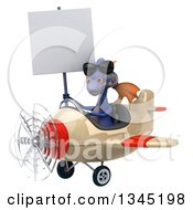 Clipart Of A 3d Purple Dragon Aviator Pilot Wearing Sunglasses Holding A Blank Sign And Flying A White And Red Airplane Slightly To The Left Royalty Free Illustration by Julos