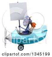 Clipart Of A 3d Purple Dragon Aviator Pilot Holding A Blank Sign And Flying A Blue Airplane To The Left Royalty Free Illustration by Julos