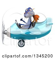 Clipart Of A 3d Purple Dragon Aviator Pilot Giving A Thumb Up And Flying A Blue Airplane To The Left Royalty Free Illustration by Julos