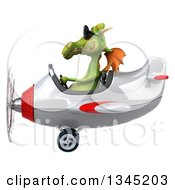 Clipart Of A 3d Green Dragon Aviator Pilot Wearing Sunglasses And Flying A White And Red Airplane To The Left Royalty Free Illustration