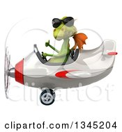 Clipart Of A 3d Green Dragon Aviator Pilot Wearing Sunglasses Giving A Thumb Up And Flying A White And Red Airplane To The Left Royalty Free Illustration