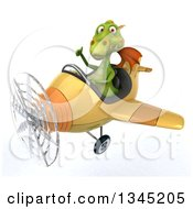 Clipart Of A 3d Green Dragon Aviator Pilot Giving A Thumb Up And Flying A Yellow Airplane Slightly To The Left Royalty Free Illustration