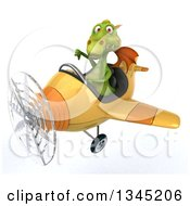 Clipart Of A 3d Green Dragon Aviator Pilot Giving A Thumb Down And Flying A Yellow Airplane Slightly To The Left Royalty Free Illustration