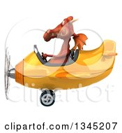 Clipart Of A 3d Red Dragon Aviator Pilot Flying A Yellow Airplane To The Left Royalty Free Illustration