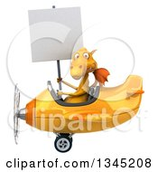 Clipart Of A 3d Yellow Dragon Aviator Pilot Holding A Blank Sign And Flying A Yellow Airplane To The Left Royalty Free Illustration