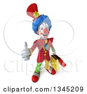 3d Colorful Clown Holding Up A Thumb And Shopping Bags