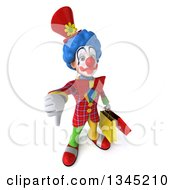 3d Colorful Clown Holding Up A Thumb Down And Shopping Bags