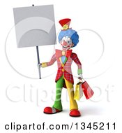 3d Colorful Clown Holding Shopping Bags And A Blank Sign