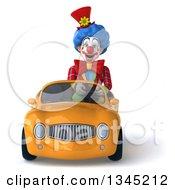 3d Colorful Clown Driving An Orange Convertible Car