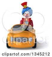 Clipart Of A 3d Colorful Clown Driving An Orange Convertible Car Royalty Free Illustration