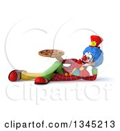 Clipart Of A 3d Colorful Clown Holding A Pizza And Resting On His Side Royalty Free Illustration