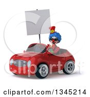 Clipart Of A 3d Colorful Clown Wearing Sunglasses Holding A Blank Sign And Driving A Red Convertible Car Slightly To The Left Royalty Free Illustration