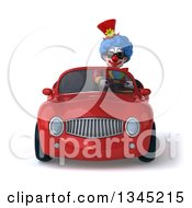 3d Colorful Clown Wearing Sunglasses And Driving A Red Convertible Car