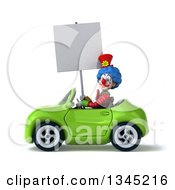 Clipart Of A 3d Colorful Clown Holding A Blank Sign Adn Driving A Green Convertible Car To The Left Royalty Free Illustration