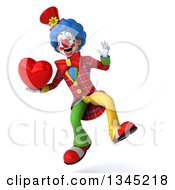 Clipart Of A 3d Colorful Clown Holding A Love Heart And Jumping Royalty Free Illustration